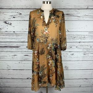 Anthropologie Printed Flutter-Sleeve Shirtdress